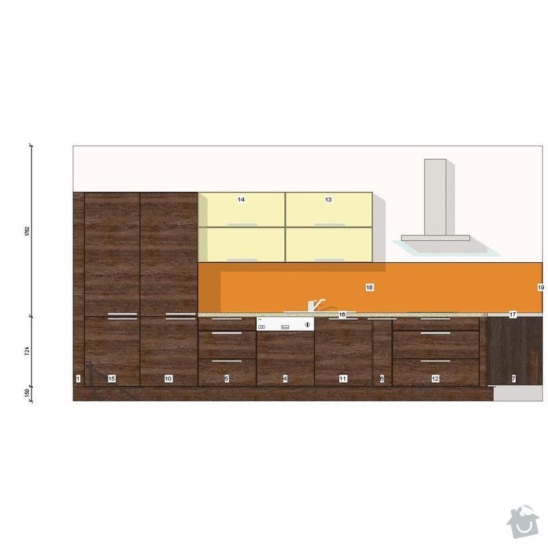 Kuchyňská linka a sádrokartonový podhled: severni-stena