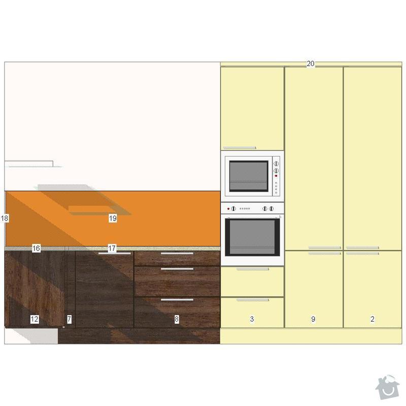Kuchyňská linka a sádrokartonový podhled: vychodni-stena
