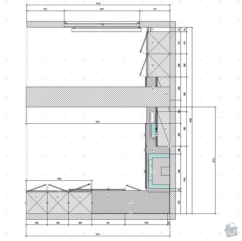 Kuchyňská linka a sádrokartonový podhled: zeshora