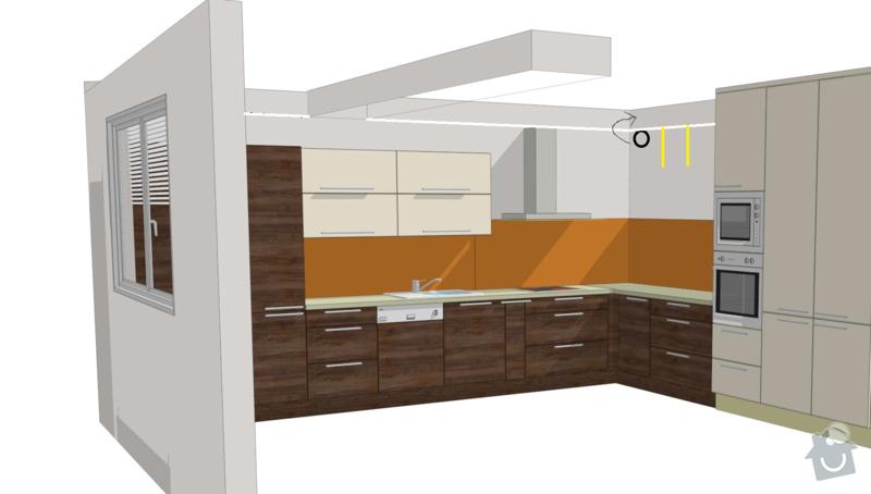 Kuchyňská linka a sádrokartonový podhled: kuchyn-vizualizace-sadrokarton
