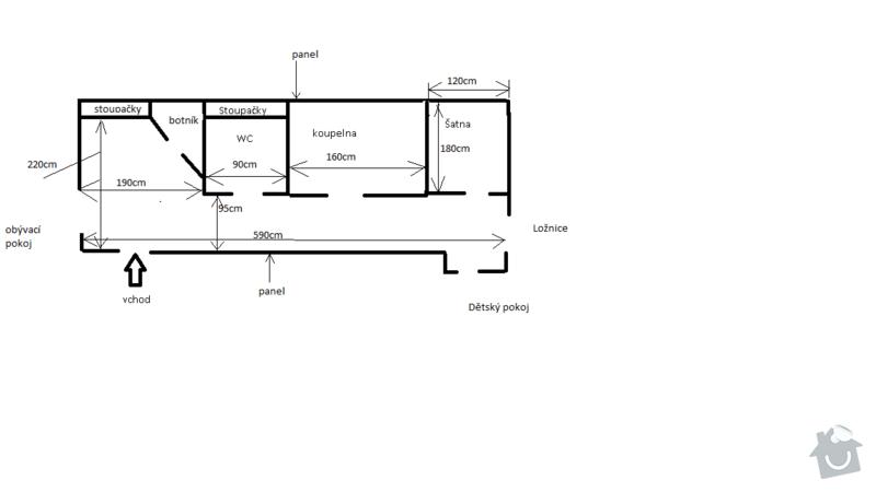 Rekonstrukce koupelny a předsíně: Nakres