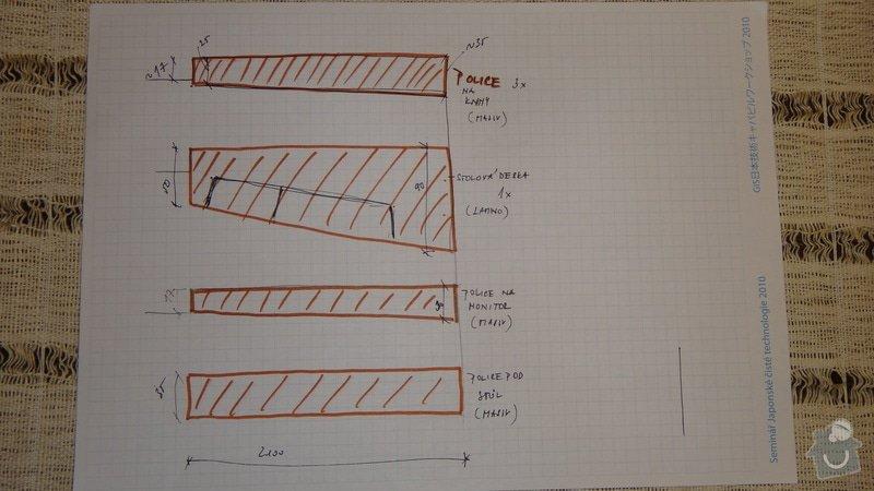 Pracovní kout z masivu: pudorysy