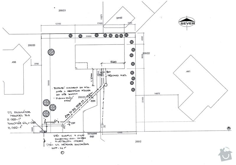 Výkopové práce - napojení domu na sítě dovedené ke kraji pozemku: plyn_odpad_s