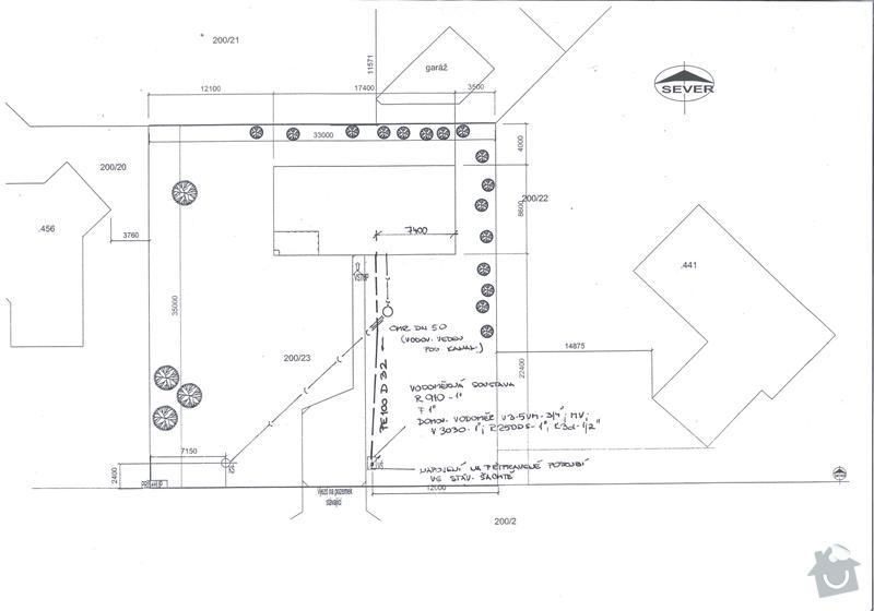 Výkopové práce - napojení domu na sítě dovedené ke kraji pozemku: vodovod_s