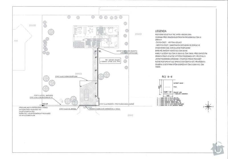Výkopové práce - napojení domu na sítě dovedené ke kraji pozemku: silnoproud_s
