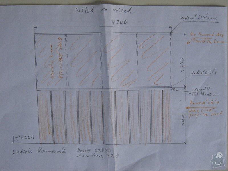 Zasklení balkonu: Hornikova32f_Brno_Nacrt_cela_balkonu