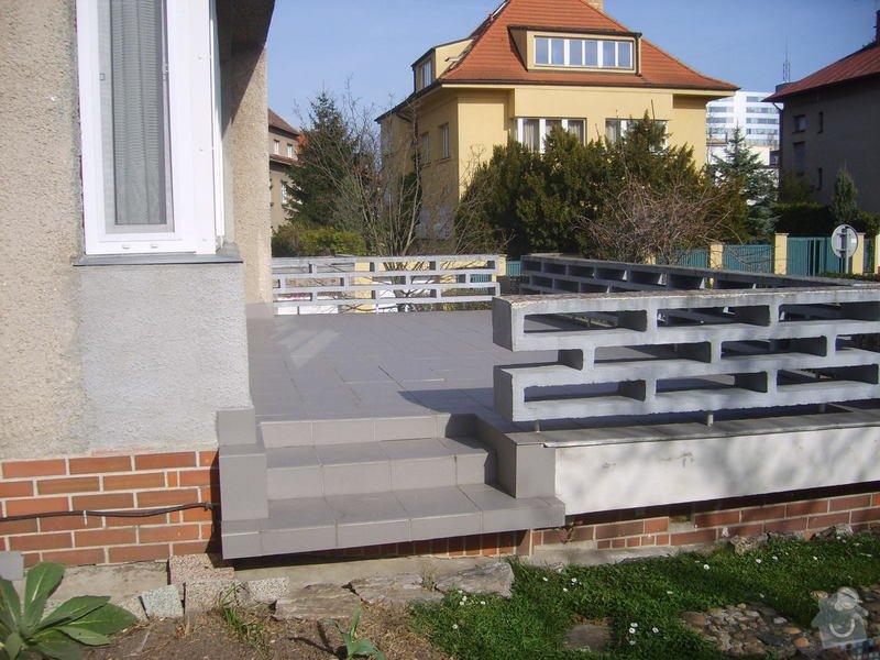 Renovace  keramické dlažby terasy, okapnice a fasády: Terasa