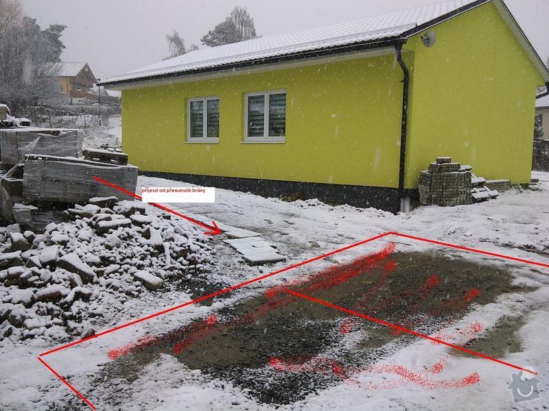 Přesun vjezdové brány, výstavba chodníku a dvou parkovacích míst, úprava terasy: DSC09628_1