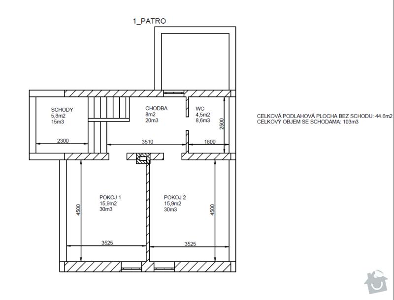 Podlahové topení + klasické radiátory: 1patro