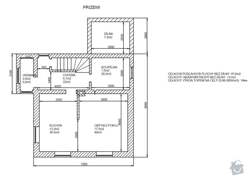 Podlahové topení + klasické radiátory: prizemi