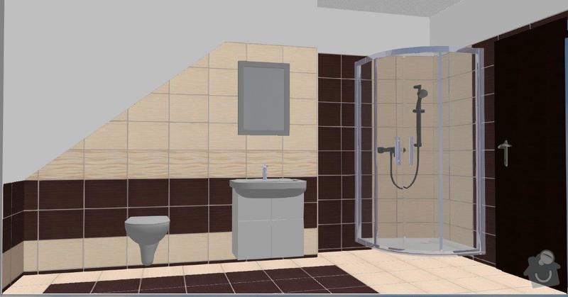 Pokládka obkladů a dlažby ve 2 koupelnách, dohromady cca 67 m2: Tanaka_I.NP_E