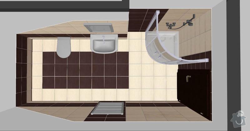 Pokládka obkladů a dlažby ve 2 koupelnách, dohromady cca 67 m2: Tanaka_I.NP