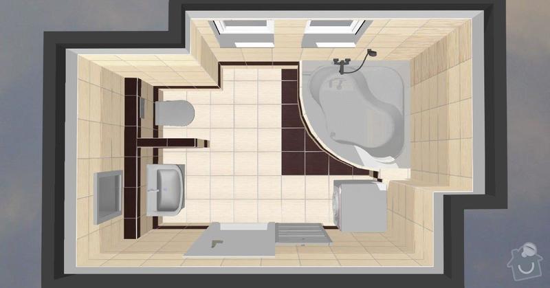 Pokládka obkladů a dlažby ve 2 koupelnách, dohromady cca 67 m2: Tanaka_prizemi