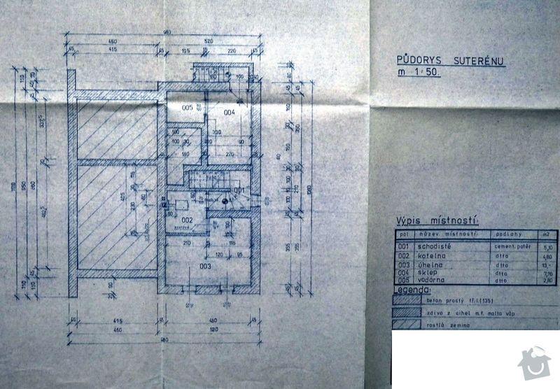 Hydroizolace rovné střechy 96m2 FATRAFOL + zateplení 20cm polystyrenem: suteren