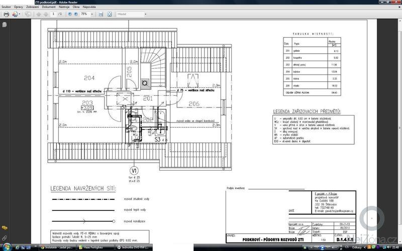 Instalatérské práce v novostavbě RD: ZTI_podkrovi
