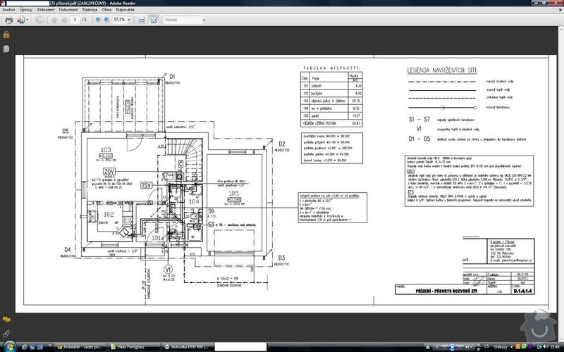 Instalatérské práce v novostavbě RD: ZTI_prizemi