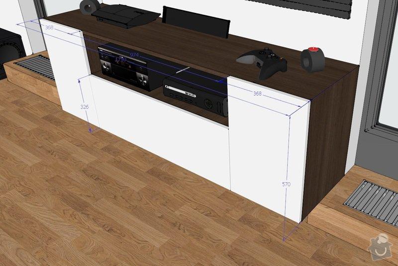 Truhlářské práce uložné prostory, tv stolek, poličky: rozmer_1