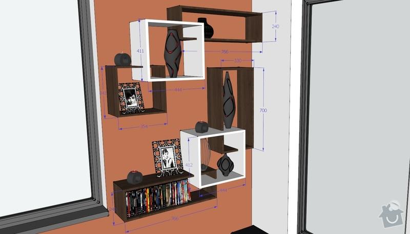 Truhlářské práce uložné prostory, tv stolek, poličky: rozmer_2