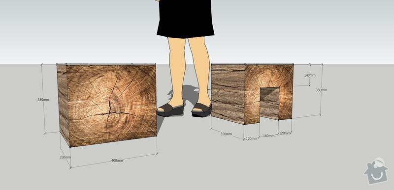 Jednoduchý nábytek z měkkého dřeva - nástěnka, stolek: sedak_nocni_stolek
