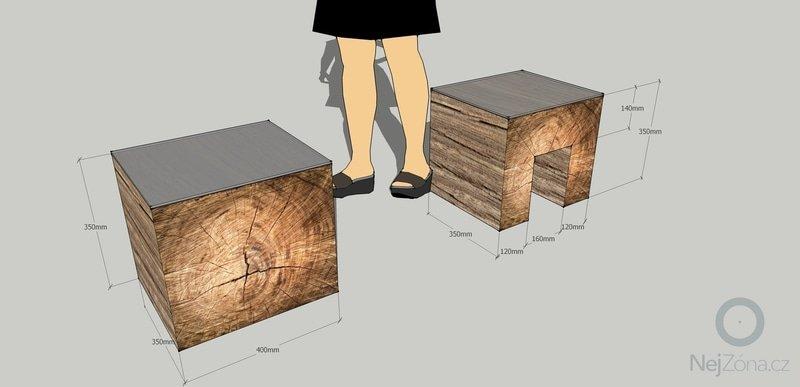 Jednoduchý nábytek z měkkého dřeva - nástěnka, stolek: sedak_nocni_stolek2
