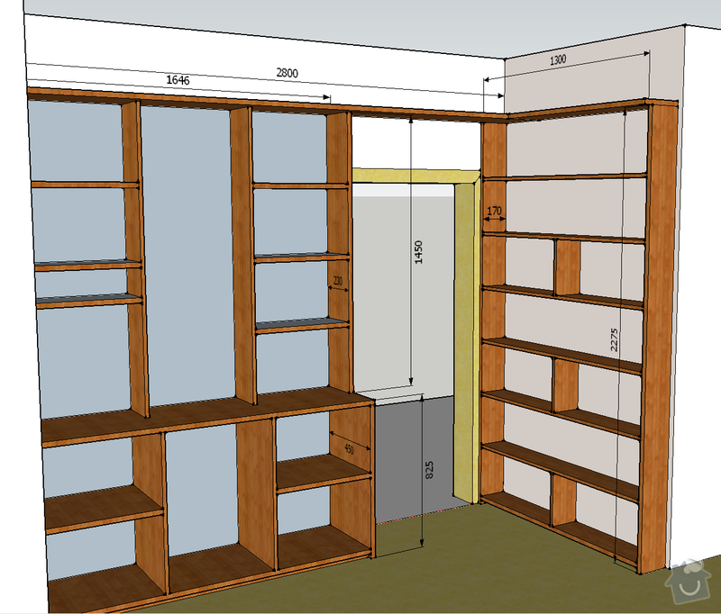 Knihovna do bytu: Situace_obyvak