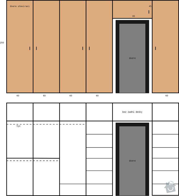 Vestavena skrin 4m s otvorem pro dvere.: skrin