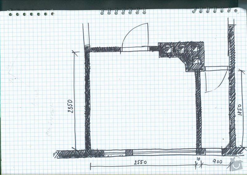 Rekonstrukce koupelny cca  5,5 m2 a WC cca 1,5 m2, v koupelně hliněné omítky: pudorys