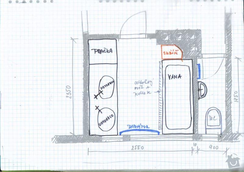 Rekonstrukce koupelny cca  5,5 m2 a WC cca 1,5 m2, v koupelně hliněné omítky: 1navrh_rozmisteni