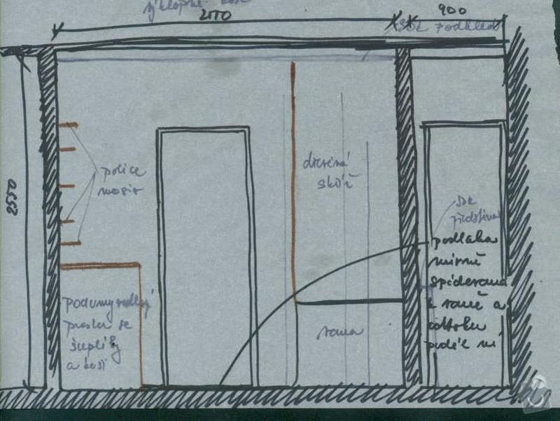 Rekonstrukce koupelny cca  5,5 m2 a WC cca 1,5 m2, v koupelně hliněné omítky: navrh_-_stena_s_dvermi