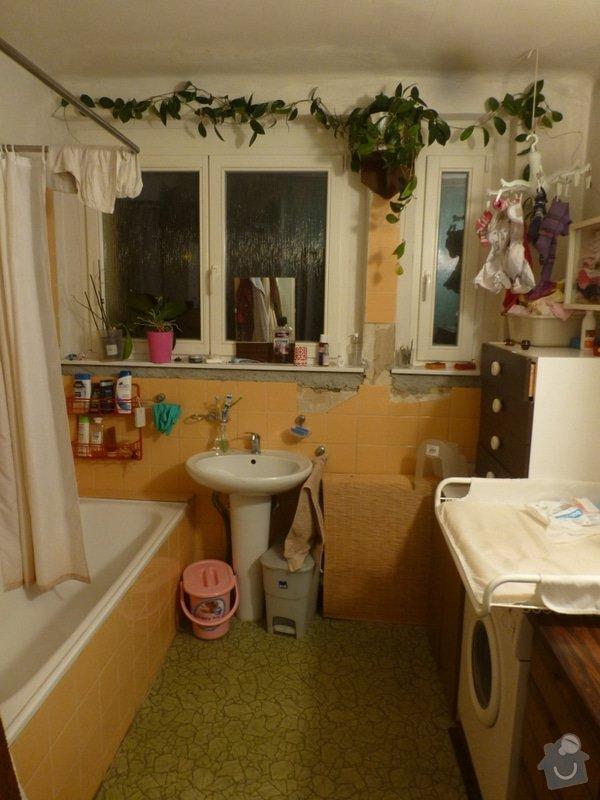 Rekonstrukce koupelny cca  5,5 m2 a WC cca 1,5 m2, v koupelně hliněné omítky: od_vstupu