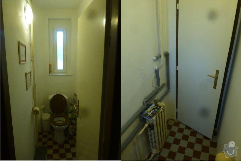 Rekonstrukce koupelny cca  5,5 m2 a WC cca 1,5 m2, v koupelně hliněné omítky: WC-komplet
