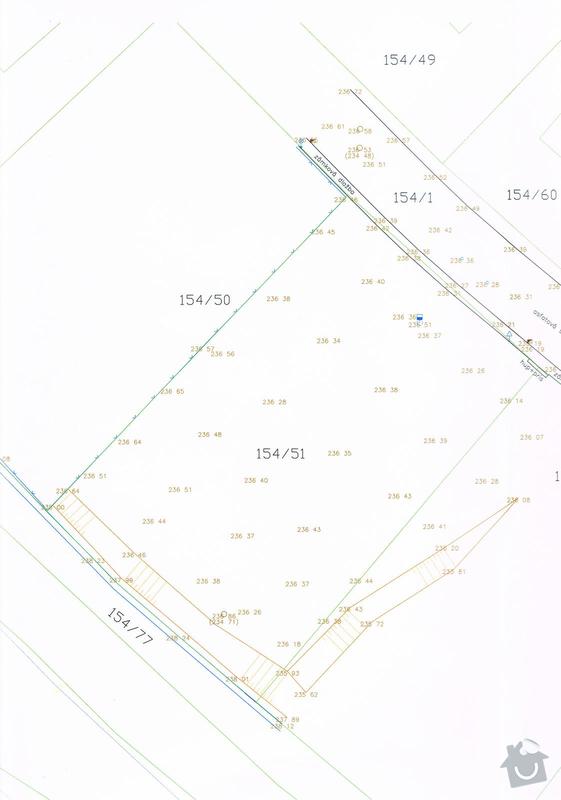 Geodetické vytyčení zákl.desky: mapa
