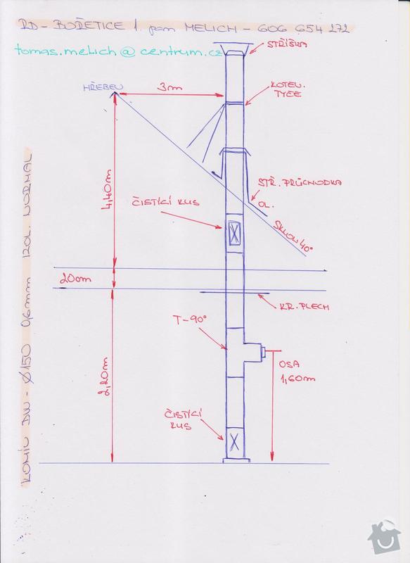 Napojení kamen na komín / výstavba komína: komin_nakres