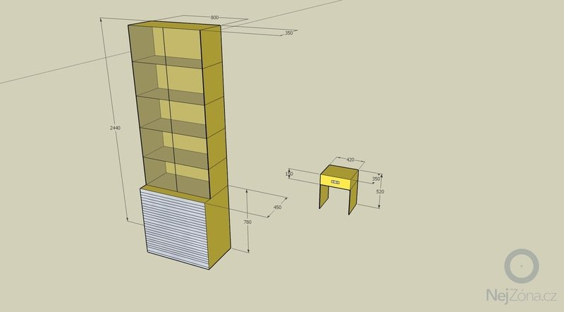 Zhotovení knihovny z lamina a jednoduchý noční stolek: knihovna_a_stolek