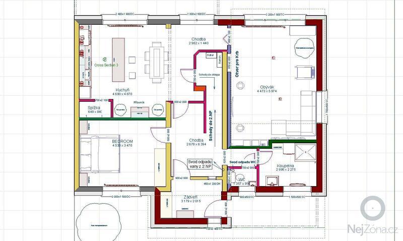 Vybavení interiéru RD - podlahy, dveře, schody: Dispozice_1NP