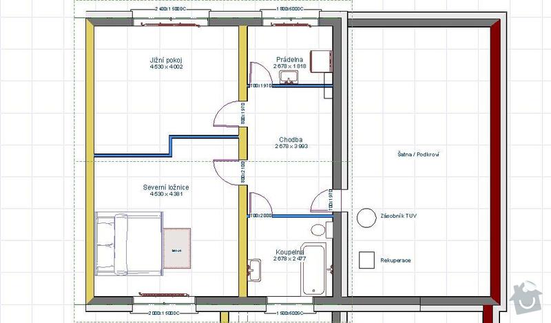 Vybavení interiéru RD - podlahy, dveře, schody: Dispozice_2NP