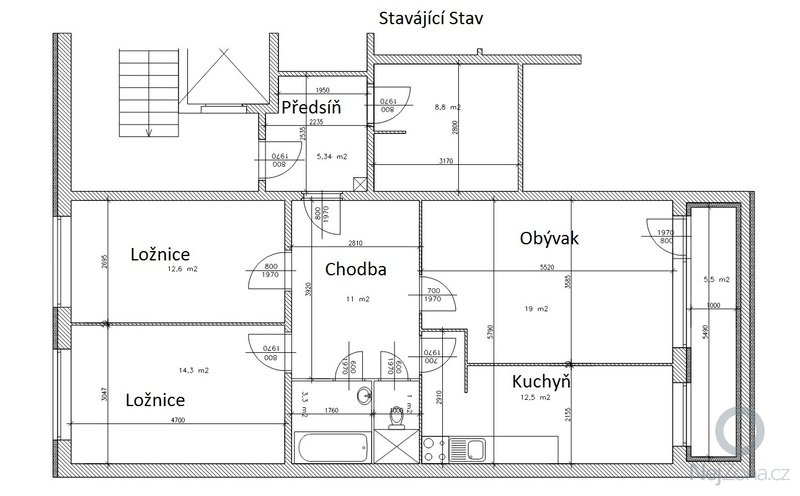 Rekonstrukce bytu 3+1 panelák Praha 5: Stary
