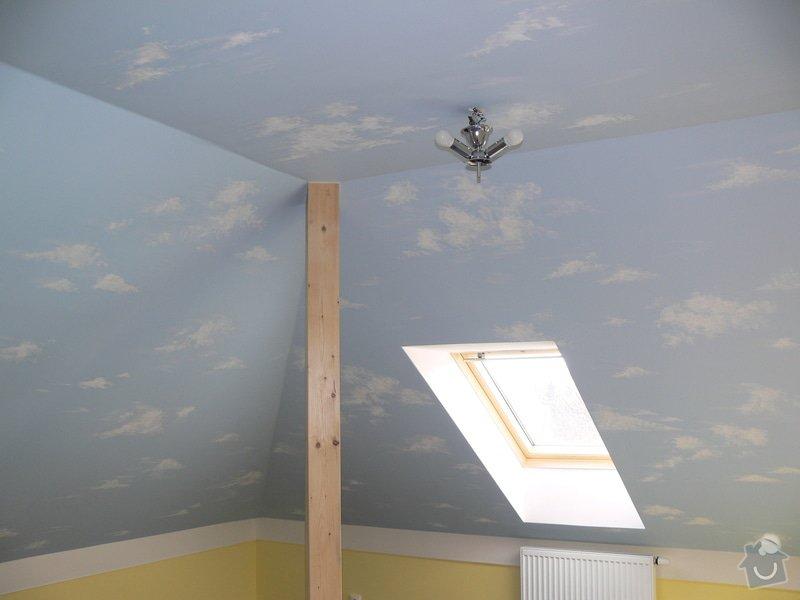 Dekorace podkrovního dětského pokoje letní oblohou - inspirace: P1230267