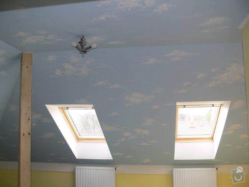 Dekorace podkrovního dětského pokoje letní oblohou - inspirace: P1230268