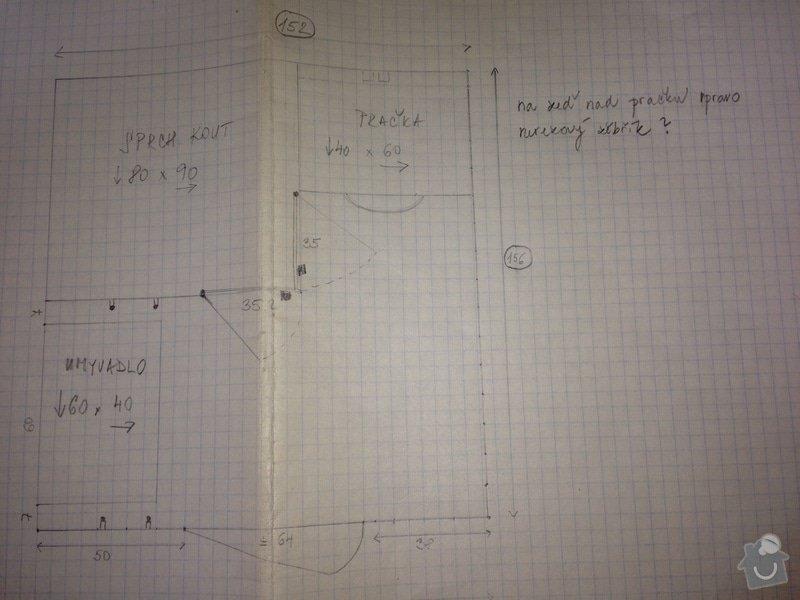 Rekonstrukce koupelny a wc - panelak: nacrt