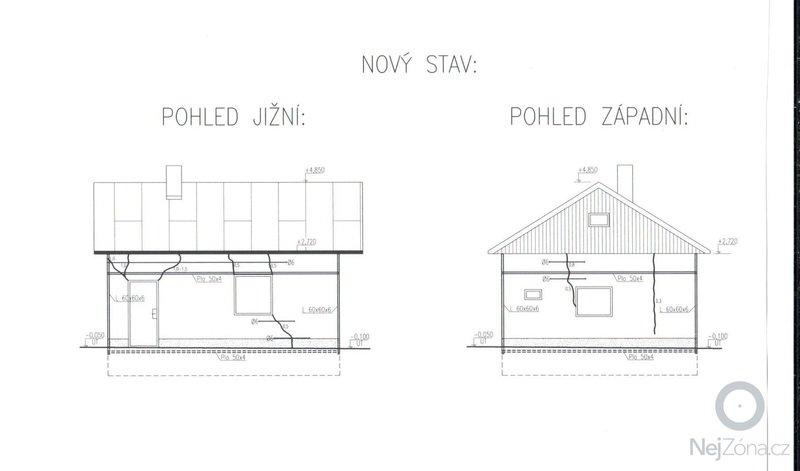 Sanace popraskaného zdiva dle projektu statika: chata_pohled_J-Z
