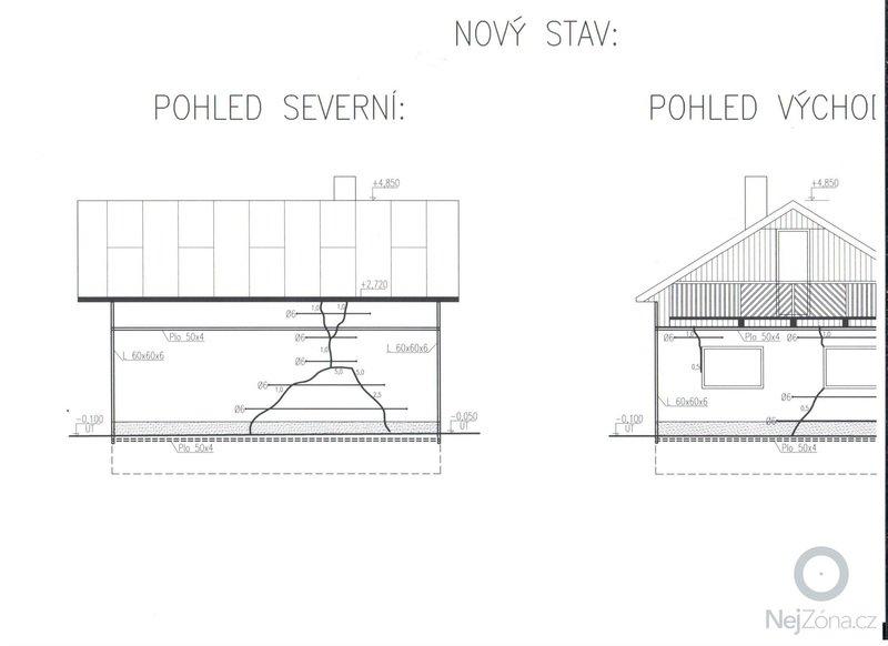 Sanace popraskaného zdiva dle projektu statika: chata_pohled_S-V