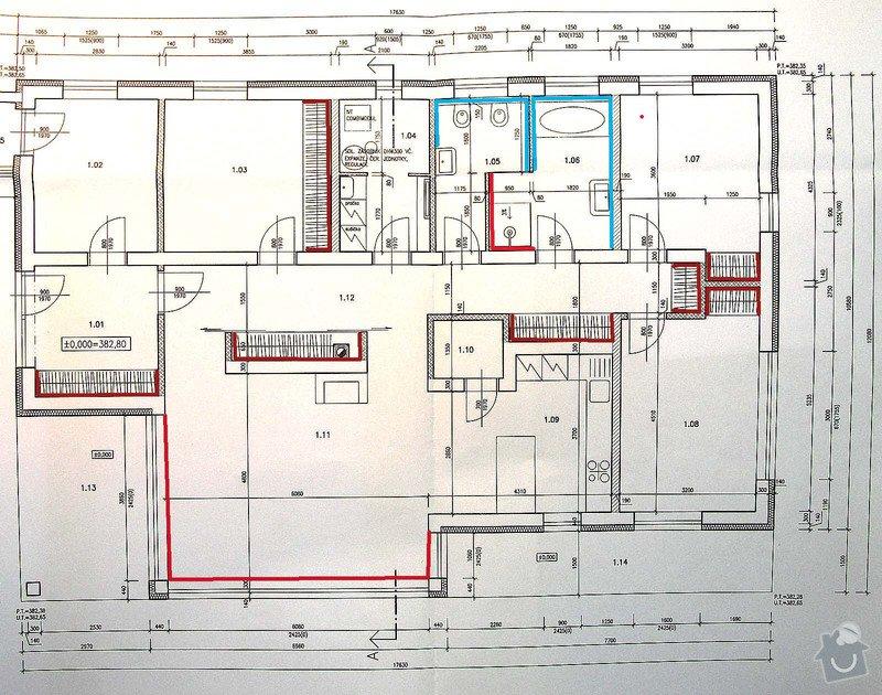Vnitřní jádrové omítky - rodinný dům: pudorys_Zbuzany