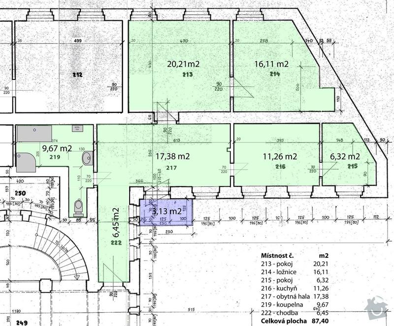 Vinylova podlaha, cca 54 m2: planik
