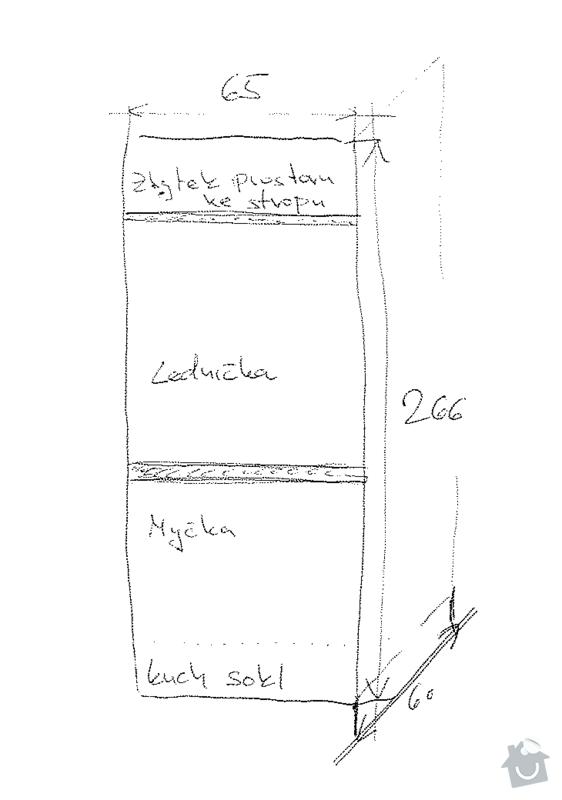 Výroba kuchyňské skříně pro vestavnou ledničku a myčku: skica