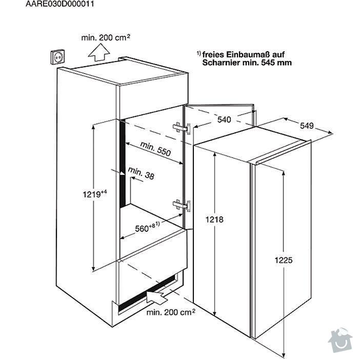 Výroba kuchyňské skříně pro vestavnou ledničku a myčku: lednice