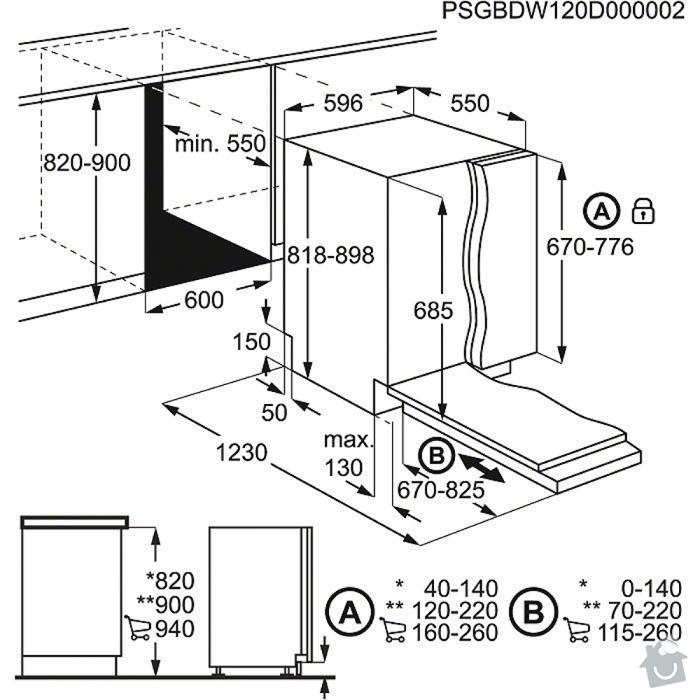 Výroba kuchyňské skříně pro vestavnou ledničku a myčku: mycka
