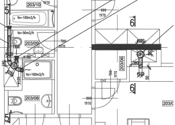 Výměna 3 ks axiálních ventilátorů za radiální + 1 ks ventilátorů bude o cca 500 mm posunut v SDK podhledu