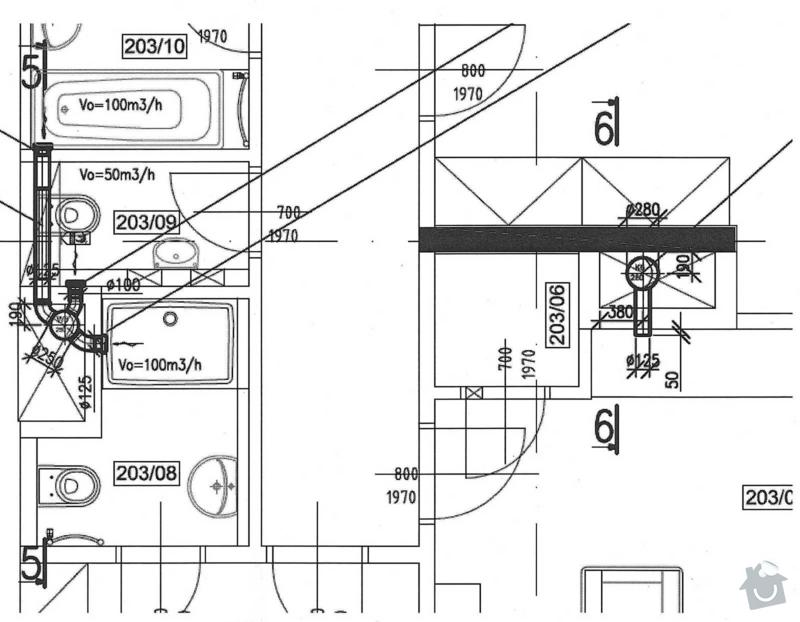 Výměna 3 ks axiálních ventilátorů za radiální + 1 ks ventilátorů bude o cca 500 mm posunut v SDK podhledu: 01_-_VZT