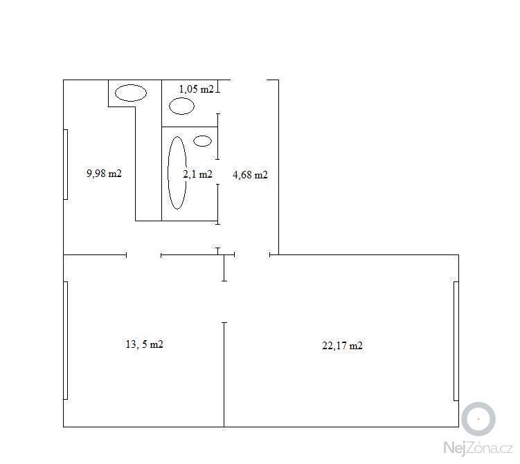 Návrh dispozičního řešení (interiéru) dvou pokojů : Pudorys_Obloukova